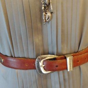 Brown Leather W/ Silver tone accents, Belt